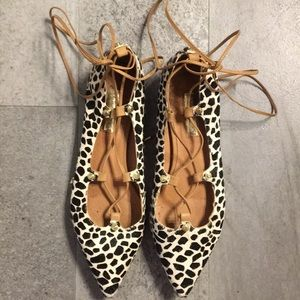 Leopard print lace up pointy toe flats